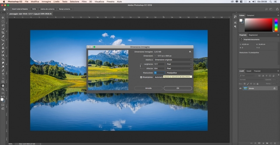Come modificare le dimensioni di una foto con Photoshop