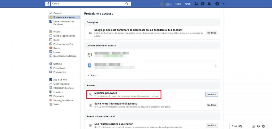 Cambiare la password di Facebook da PC