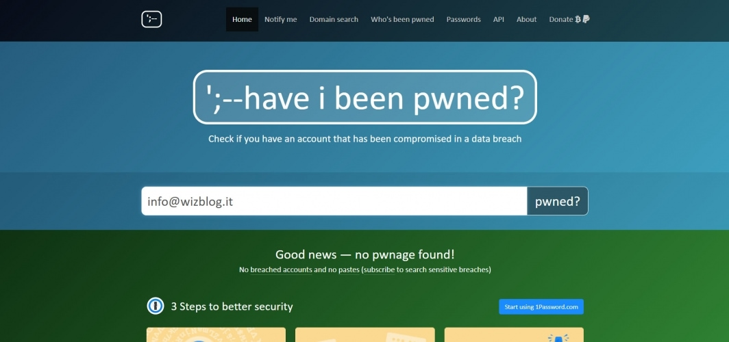 controllare email con Have i been pwned