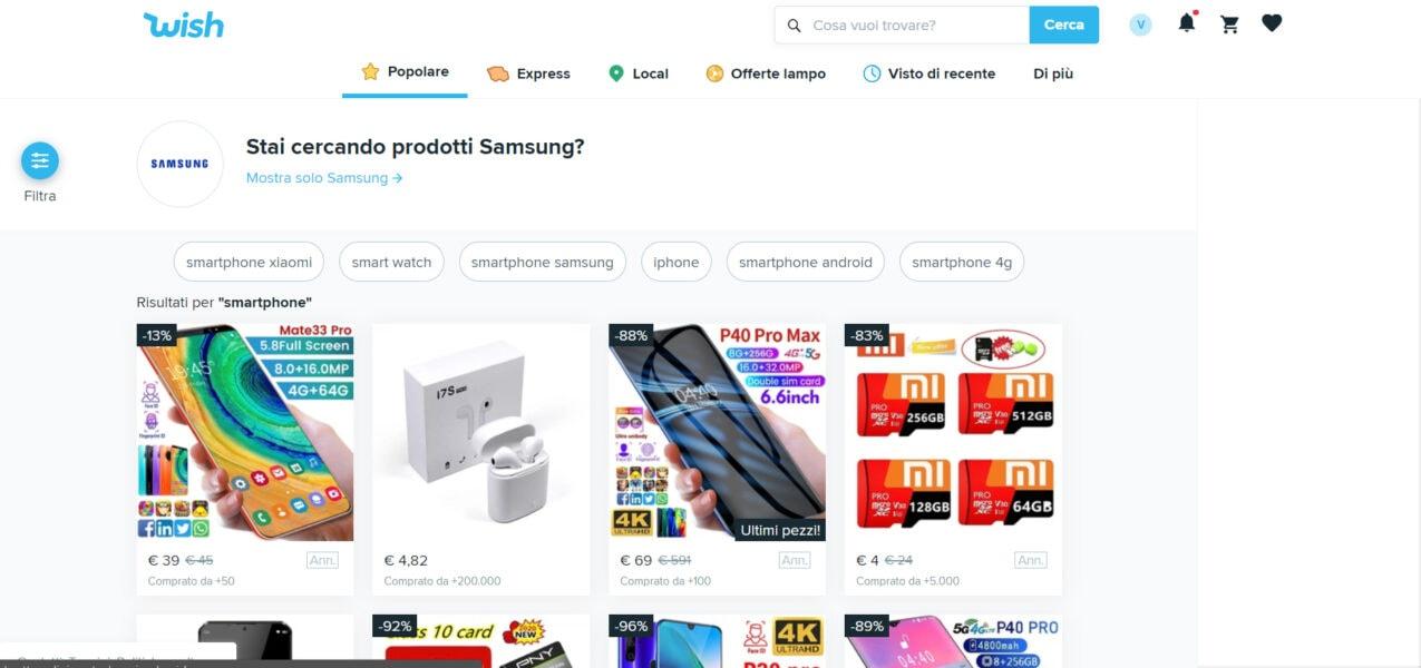 Wish per comprare smartphone