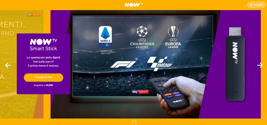 now tv per guardare sport in streaming