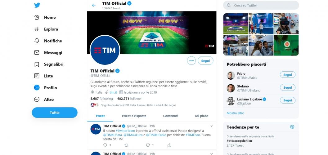 assistenza TIM usando i social