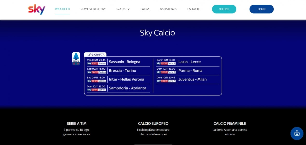 Sky Calcio 7 partite di Serie A su 10