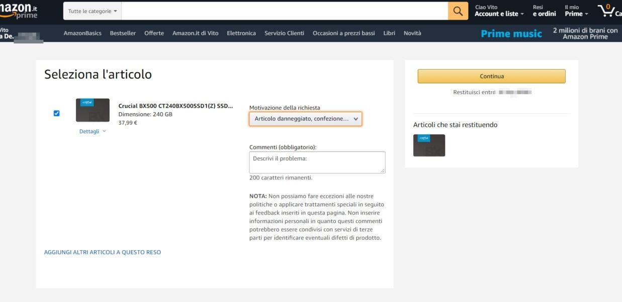 Come rimandare indietro un pacco Amazon